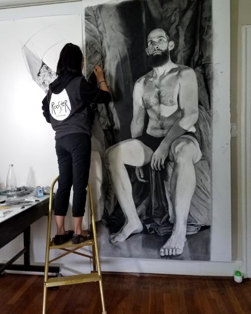 Hong in the studio by  Richard Nickel